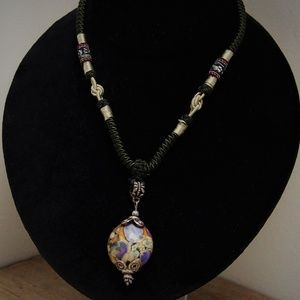 Artisan Colorful Art Glass Pendant Necklace